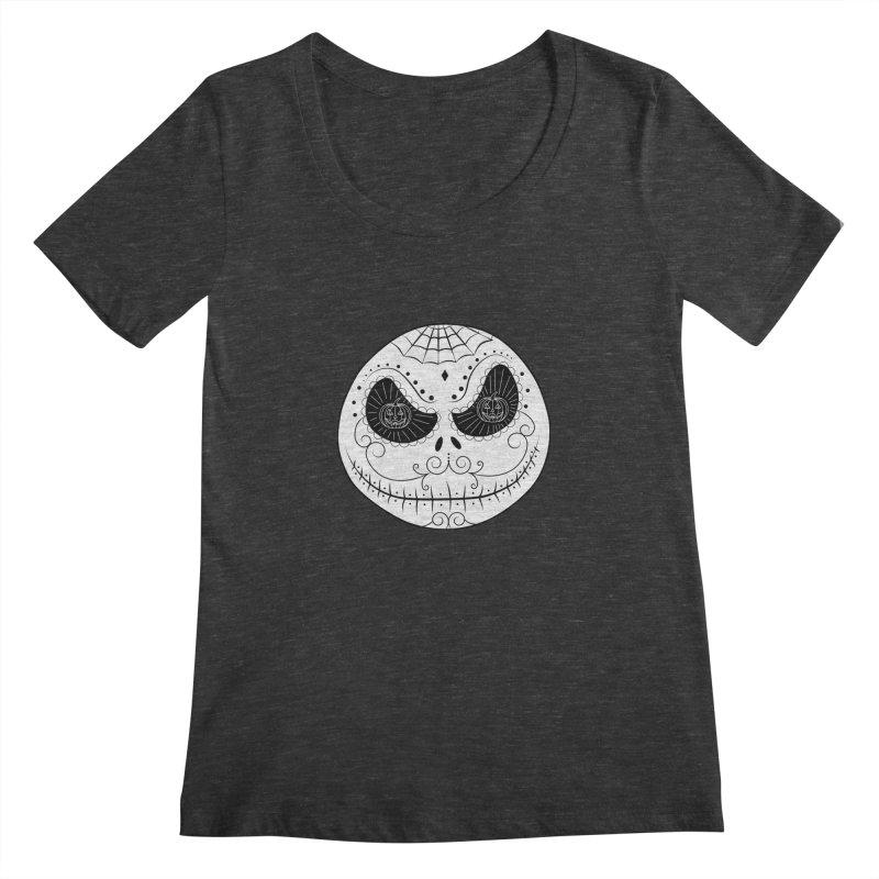 Jack Skellington's Skull Sugar (Nightmare Before Christmas - Vector Mexican Skull) Women's Scoopneck by Beatrizxe