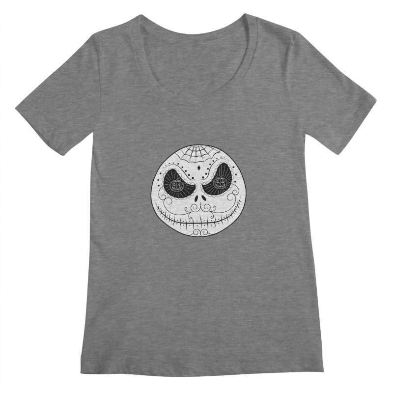Jack Skellington's Skull Sugar (Nightmare Before Christmas - Vector Mexican Skull) Women's Scoopneck by Beatrizxe