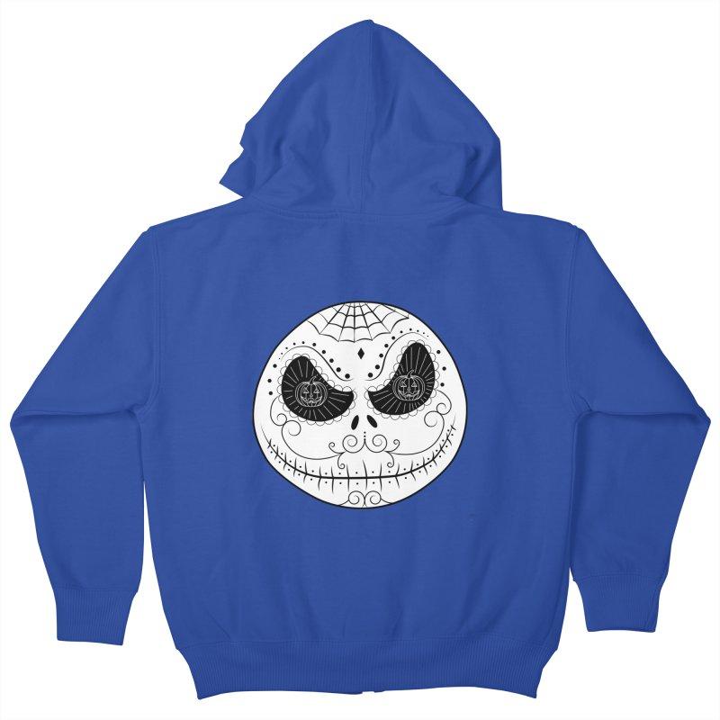 Jack Skellington's Skull Sugar (Nightmare Before Christmas - Vector Mexican Skull) Kids Zip-Up Hoody by Beatrizxe