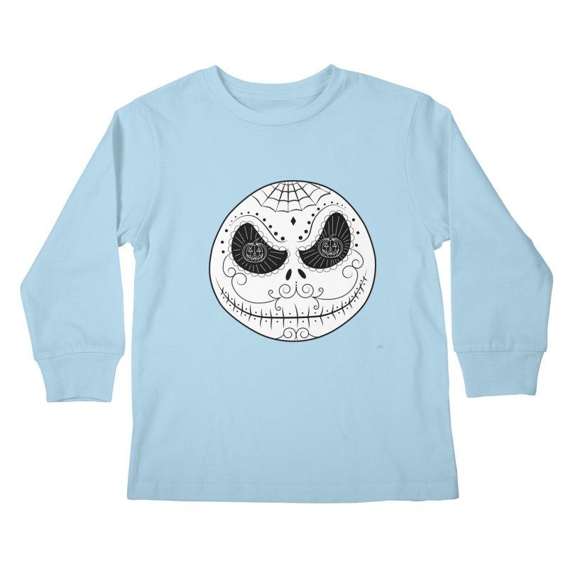 Jack Skellington's Skull Sugar (Nightmare Before Christmas - Vector Mexican Skull) Kids Longsleeve T-Shirt by Beatrizxe