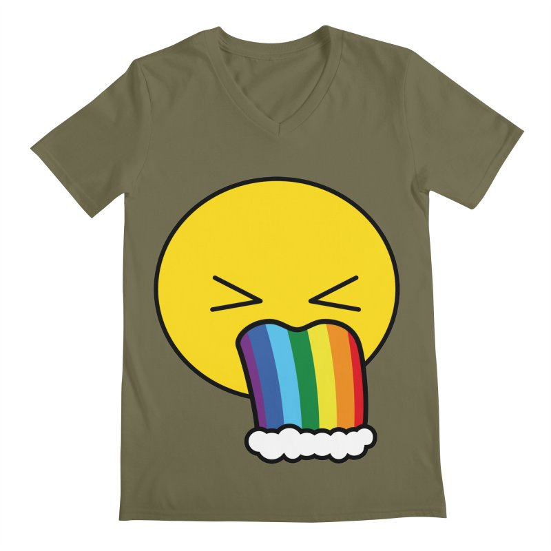 Puke Rainbow - Emoji Men's V-Neck by Beatrizxe