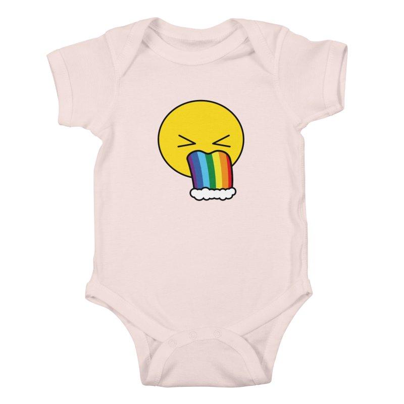 Puke Rainbow - Emoji Kids Baby Bodysuit by Beatrizxe