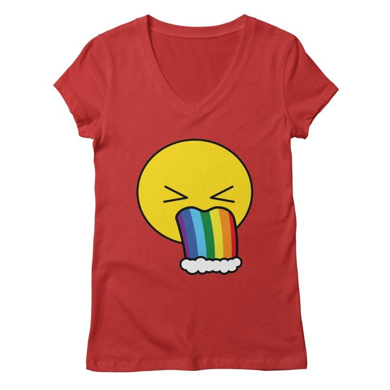 Puke Rainbow - Emoji Women's V-Neck by Beatrizxe