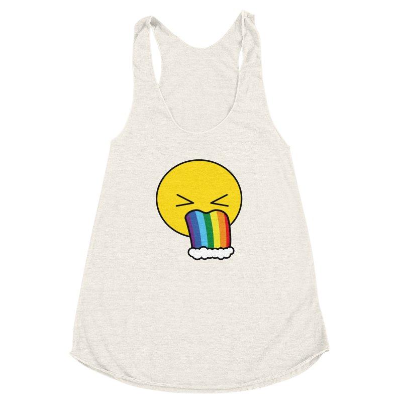 Puke Rainbow - Emoji Women's Racerback Triblend Tank by Beatrizxe
