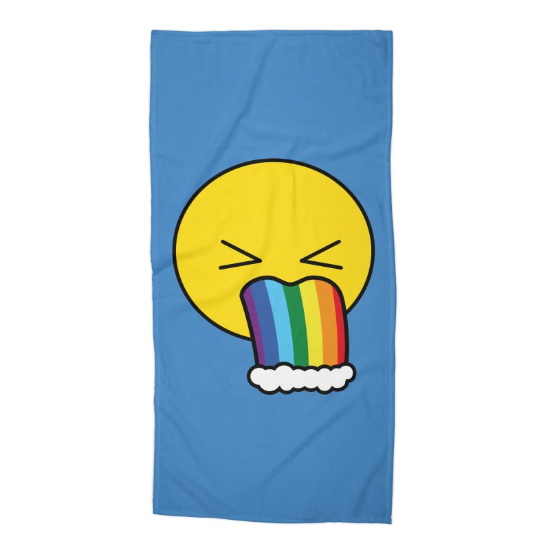 Puke Rainbow - Emoji Accessories Beach Towel by Beatrizxe