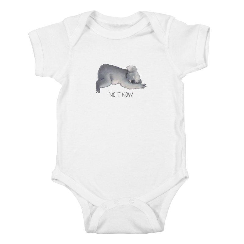 Koala Sketch - Not Now - Lazy animal Kids Baby Bodysuit by Beatrizxe