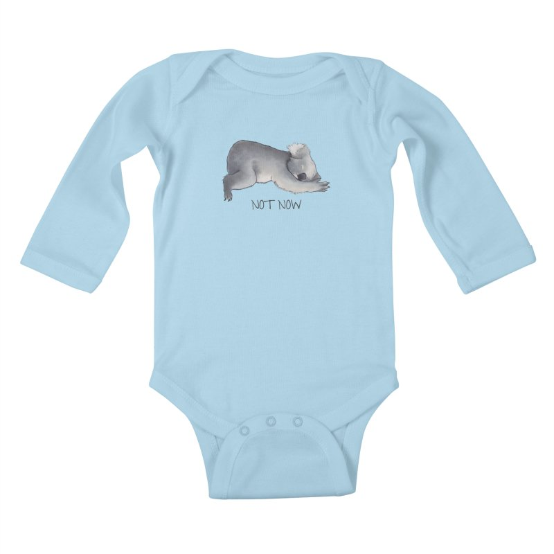 Koala Sketch - Not Now - Lazy animal Kids Baby Longsleeve Bodysuit by Beatrizxe