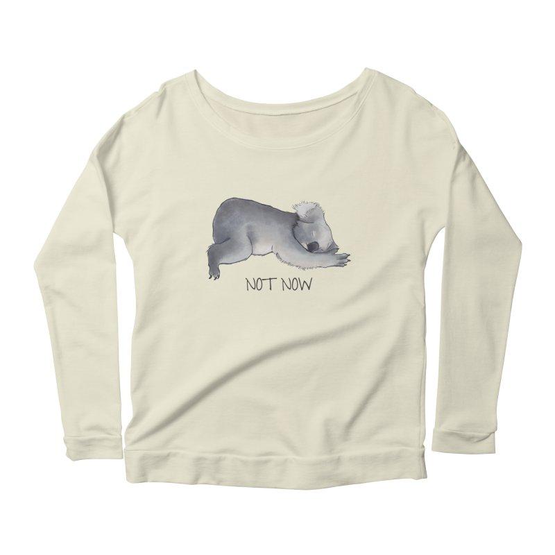 Koala Sketch - Not Now - Lazy animal Women's Scoop Neck Longsleeve T-Shirt by Beatrizxe