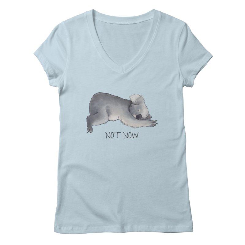 Koala Sketch - Not Now - Lazy animal Women's V-Neck by Beatrizxe