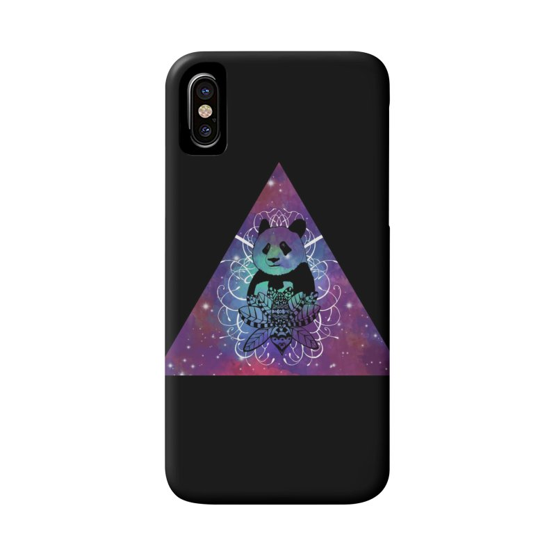 Black Panda in watercolor space background Accessories Phone Case by Beatrizxe