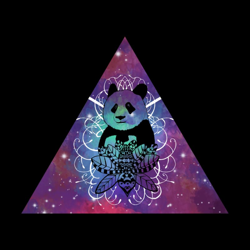 Black Panda in watercolor space background by Beatrizxe