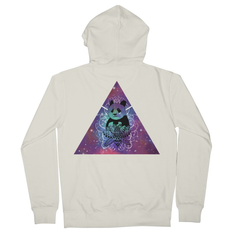 Black Panda in watercolor space background Men's French Terry Zip-Up Hoody by Beatrizxe