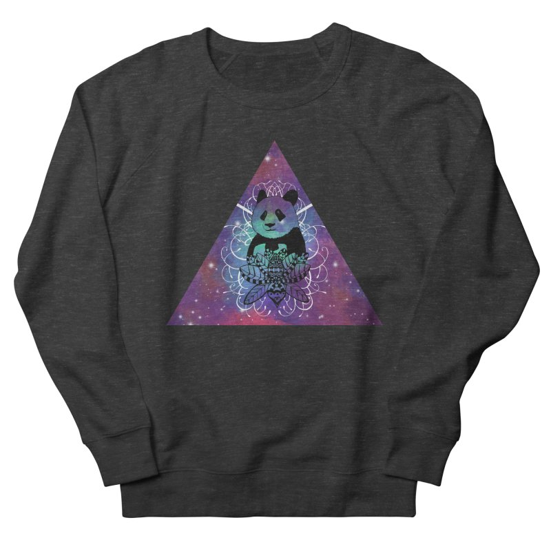 Black Panda in watercolor space background Women's French Terry Sweatshirt by Beatrizxe