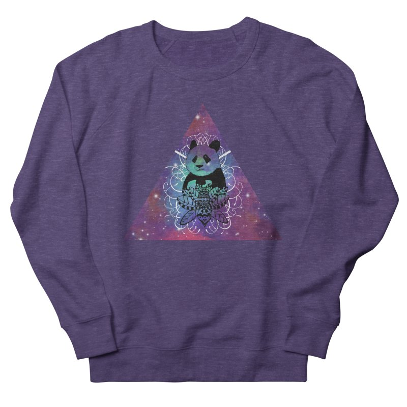 Black Panda in watercolor space background Men's French Terry Sweatshirt by Beatrizxe