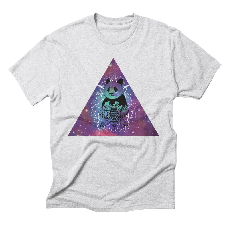 Black Panda in watercolor space background Men's Triblend T-Shirt by Beatrizxe