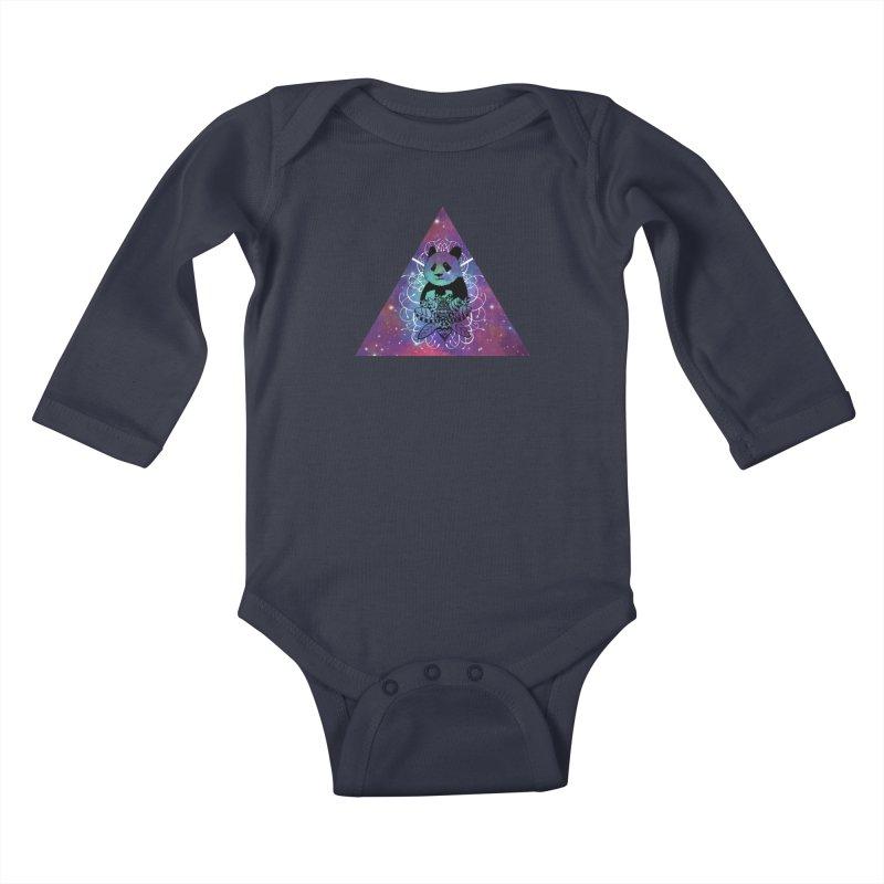 Black Panda in watercolor space background Kids Baby Longsleeve Bodysuit by Beatrizxe