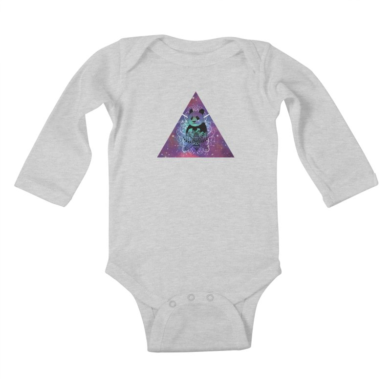 Black Panda in watercolor space background Kids Baby Longsleeve Bodysuit by Beatrizxe