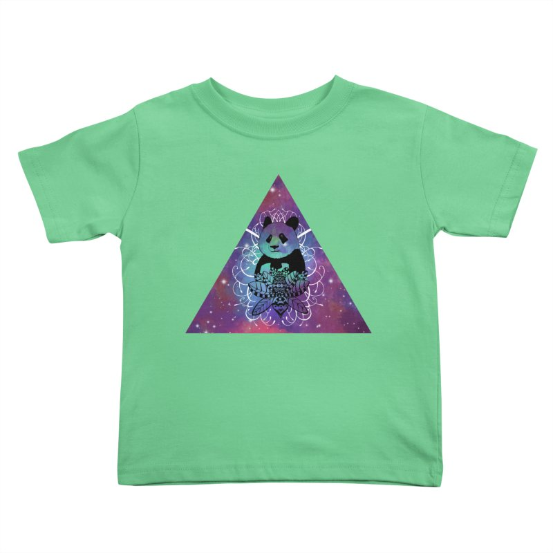 Black Panda in watercolor space background Kids Toddler T-Shirt by Beatrizxe