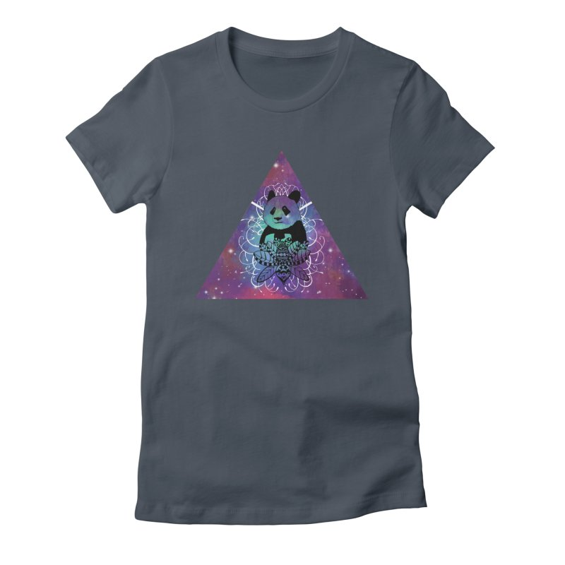 Black Panda in watercolor space background Women's T-Shirt by Beatrizxe