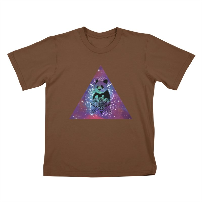 Black Panda in watercolor space background Kids T-shirt by Beatrizxe