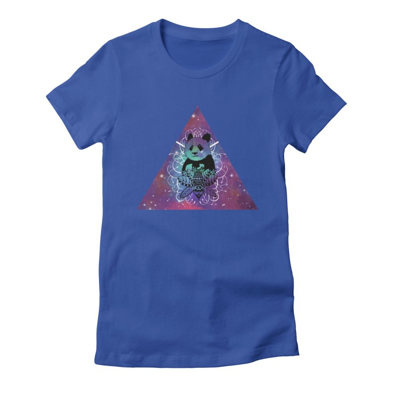 Black Panda in watercolor space background Women's Fitted T-Shirt by Beatrizxe