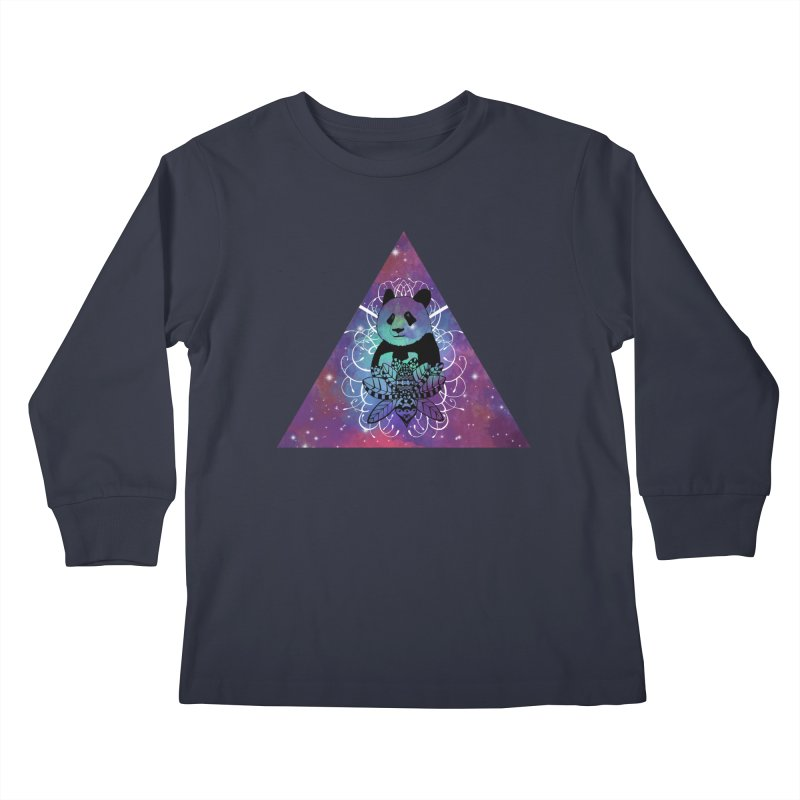 Black Panda in watercolor space background Kids Longsleeve T-Shirt by Beatrizxe