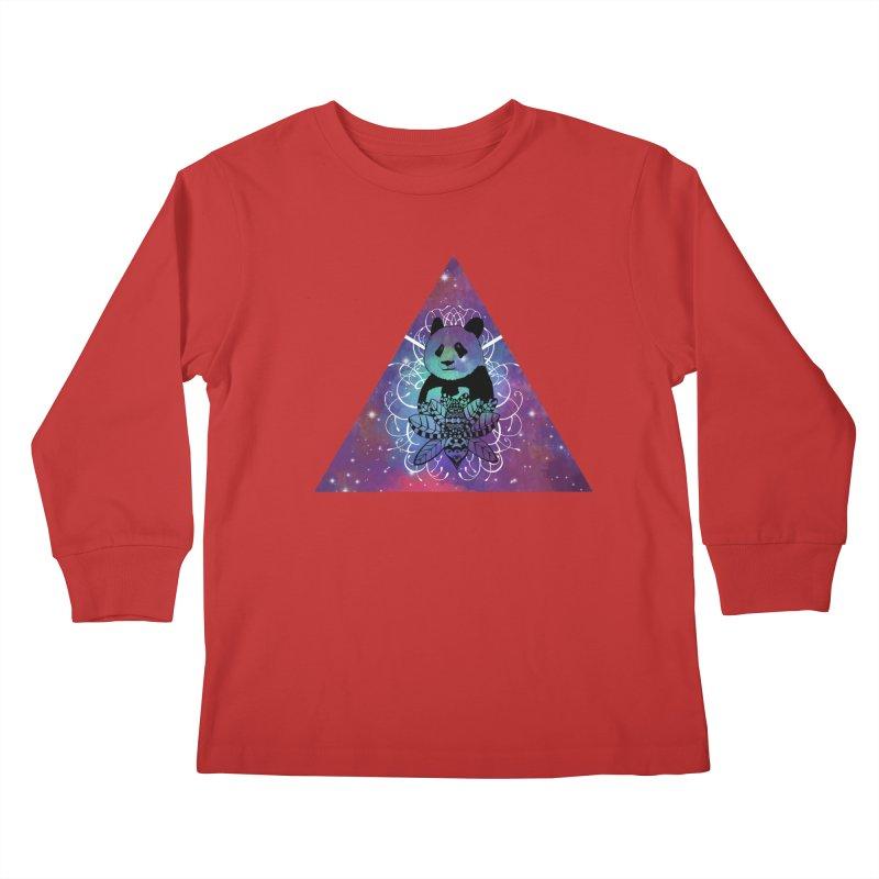 Black Panda in watercolor space background Kids Longsleeve T-Shirt by Beatrizxe