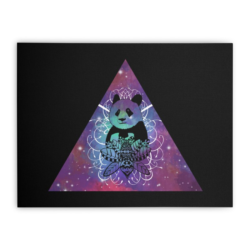Black Panda in watercolor space background Home Stretched Canvas by Beatrizxe