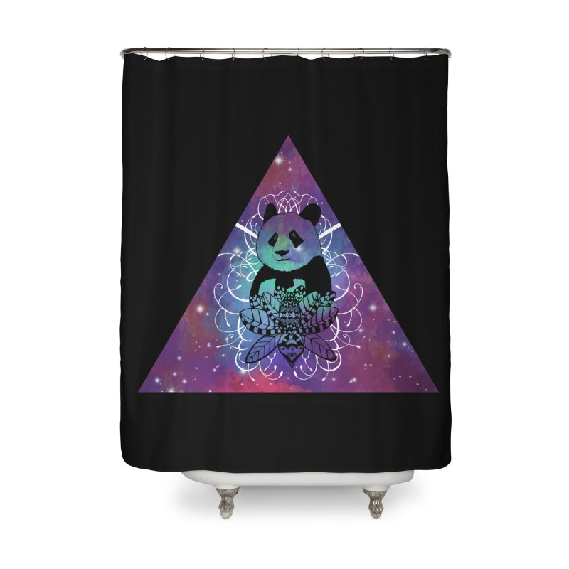 Black Panda in watercolor space background Home Shower Curtain by Beatrizxe