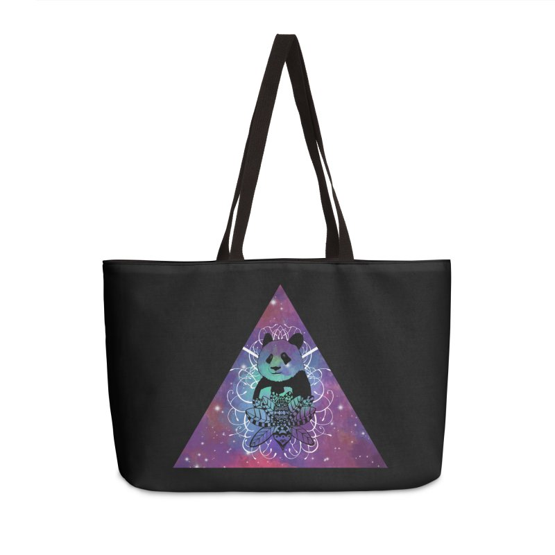 Black Panda in watercolor space background Accessories Weekender Bag Bag by Beatrizxe