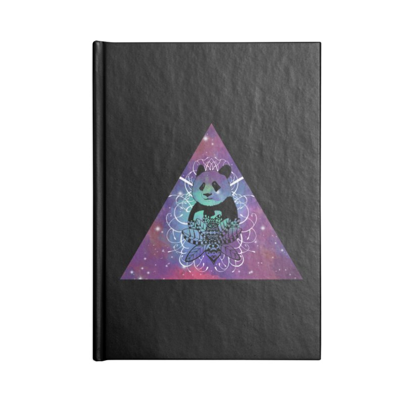 Black Panda in watercolor space background Accessories Lined Journal Notebook by Beatrizxe