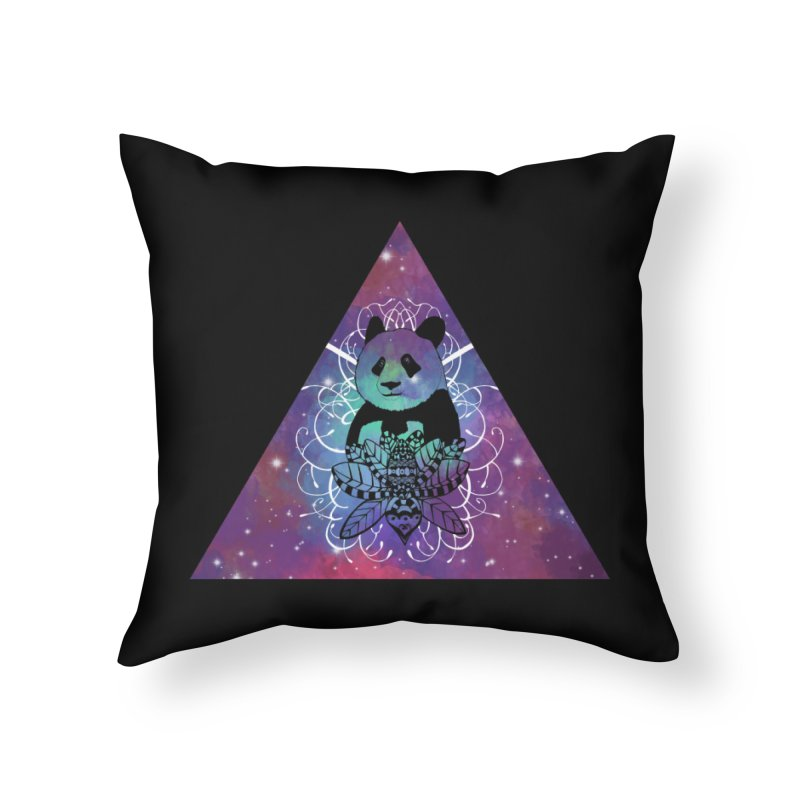 Black Panda in watercolor space background Home Throw Pillow by Beatrizxe