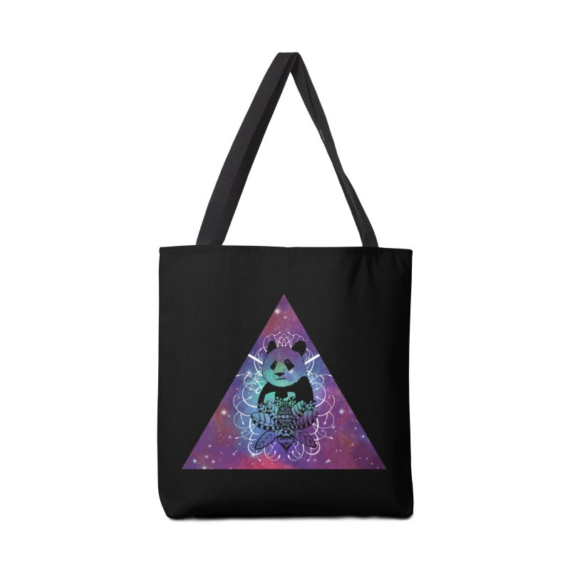 Black Panda in watercolor space background Accessories Bag by Beatrizxe