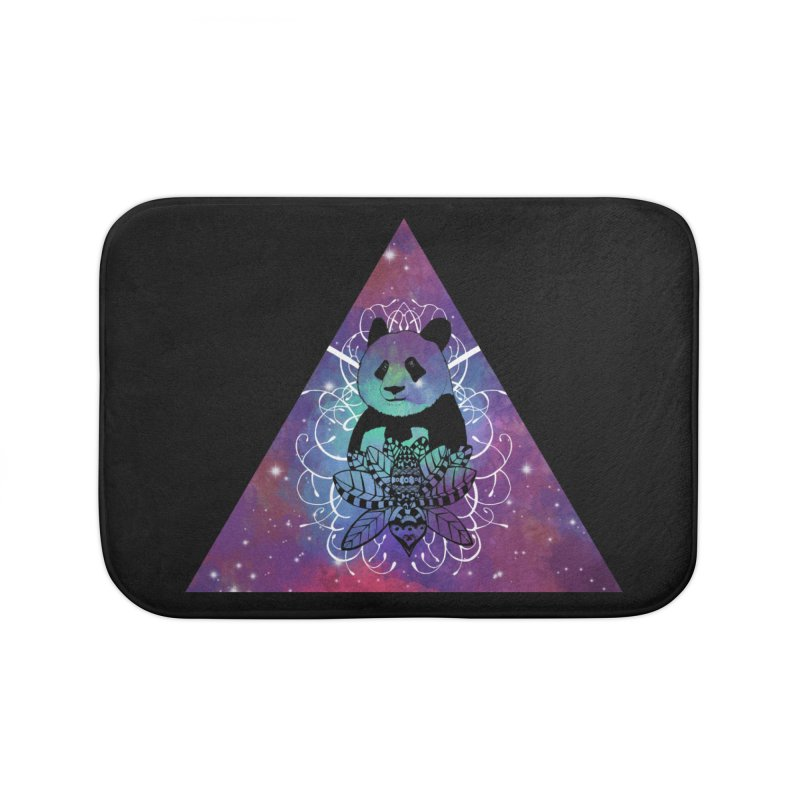 Black Panda in watercolor space background Home Bath Mat by Beatrizxe