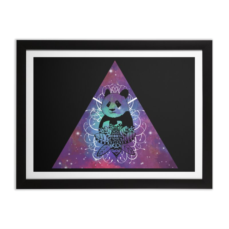 Black Panda in watercolor space background Home Framed Fine Art Print by Beatrizxe