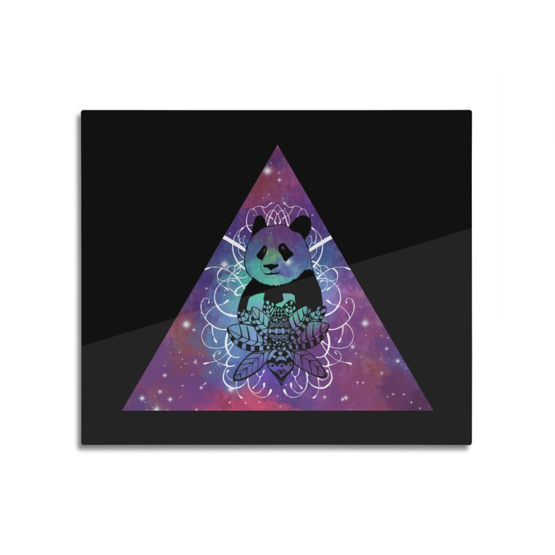 Black Panda in watercolor space background Home Mounted Aluminum Print by Beatrizxe