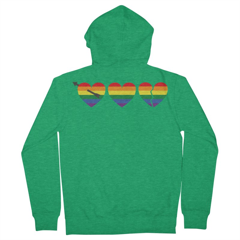 Hearts with gay flag (gay pride) Men's Zip-Up Hoody by Beatrizxe
