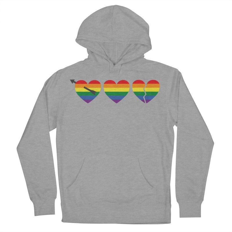 Hearts with gay flag (gay pride) Women's French Terry Pullover Hoody by Beatrizxe