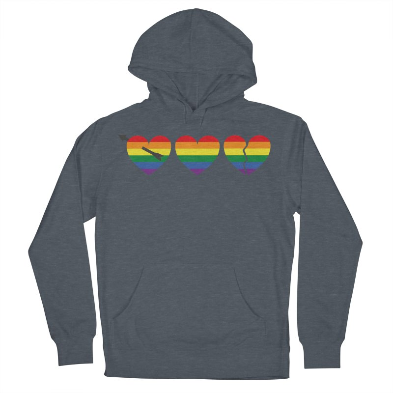 Hearts with gay flag (gay pride) Men's French Terry Pullover Hoody by Beatrizxe