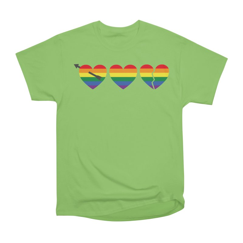 Hearts with gay flag (gay pride) Women's Heavyweight Unisex T-Shirt by Beatrizxe