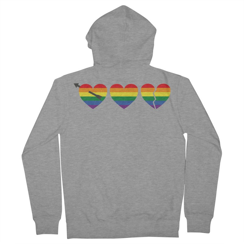 Hearts with gay flag (gay pride) Women's French Terry Zip-Up Hoody by Beatrizxe