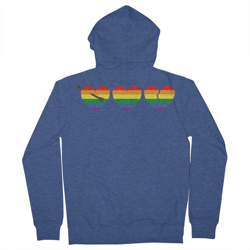 Hearts with gay flag (gay pride) Men's French Terry Zip-Up Hoody by Beatrizxe