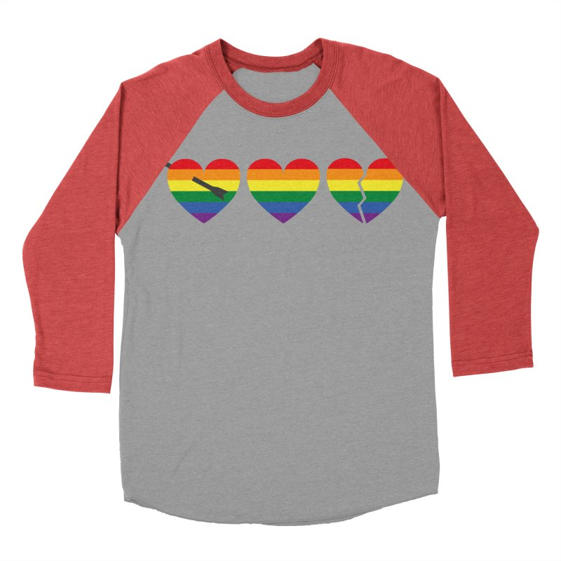 Hearts with gay flag (gay pride) Men's Baseball Triblend Longsleeve T-Shirt by Beatrizxe
