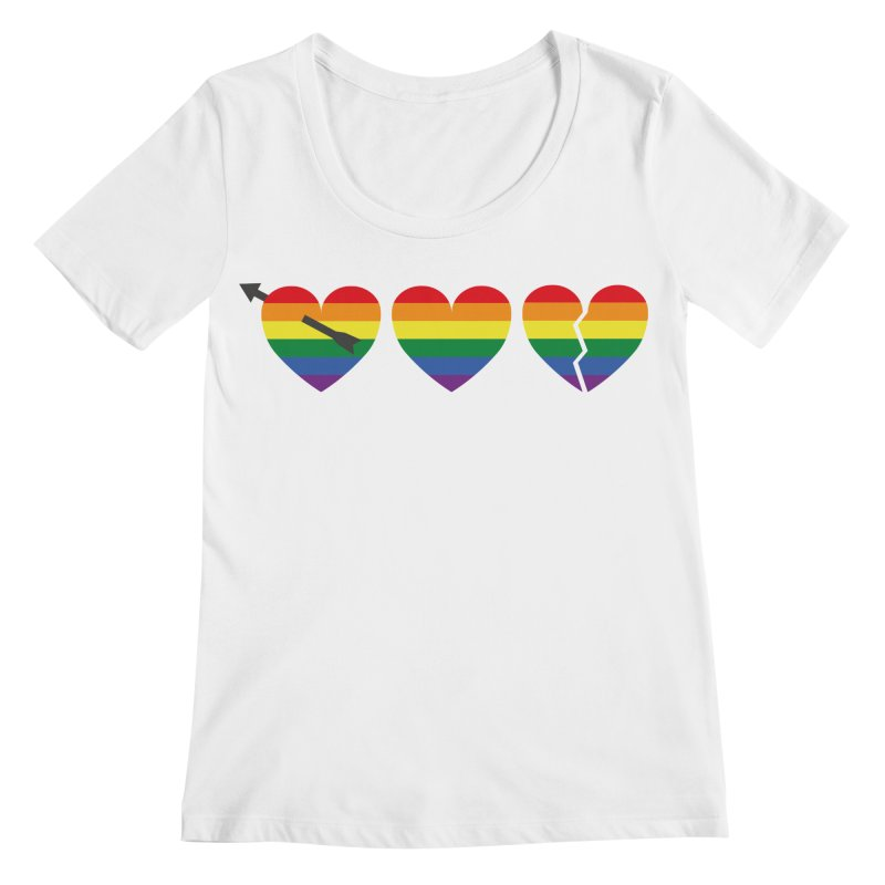 Hearts with gay flag (gay pride) Women's Scoopneck by Beatrizxe