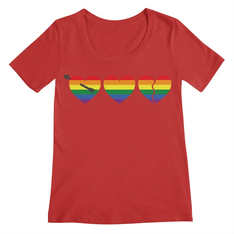Hearts with gay flag (gay pride) Women's Regular Scoop Neck by Beatrizxe