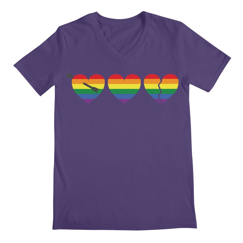 Hearts with gay flag (gay pride) Men's V-Neck by Beatrizxe