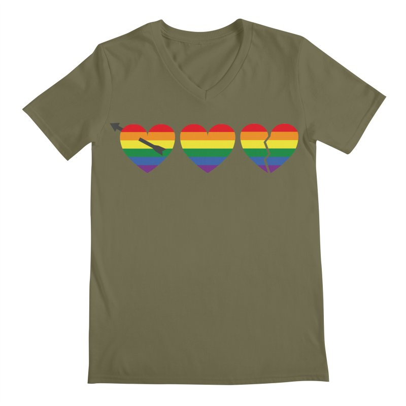 Hearts with gay flag (gay pride) Men's Regular V-Neck by Beatrizxe
