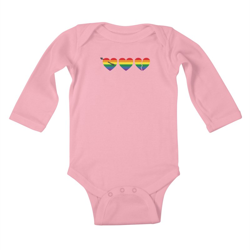 Hearts with gay flag (gay pride) Kids Baby Longsleeve Bodysuit by Beatrizxe