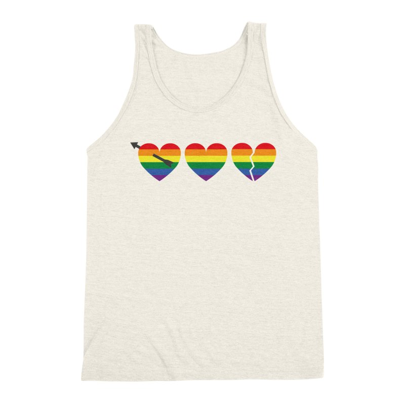 Hearts with gay flag (gay pride) Men's Triblend Tank by Beatrizxe