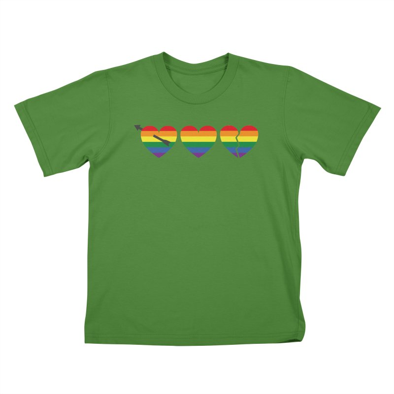 Hearts with gay flag (gay pride) Kids T-Shirt by Beatrizxe
